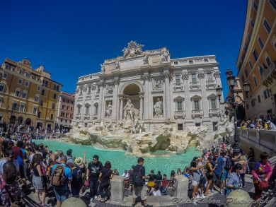 The Trevi Fountain with Papal Crest at the top.