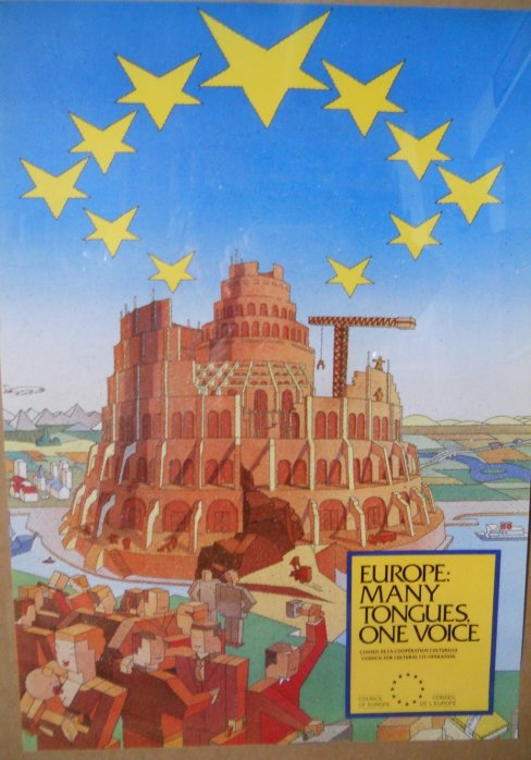 A poster for the European Union featuring an image of the Tower of Babylon.