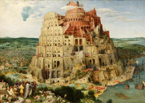 A painting of the Tower of Babylon by Pieter Bruegel the Elder.